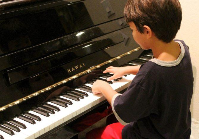 piano, boy, playing