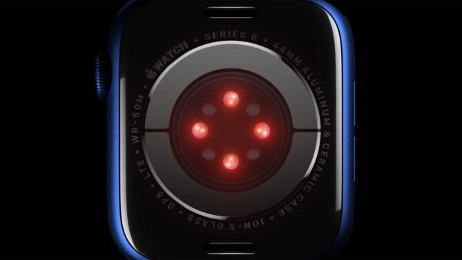Sauerstoffgehalt messen mit der Apple Watch Series 6 - Darstellung der Rückseite mit LEDs